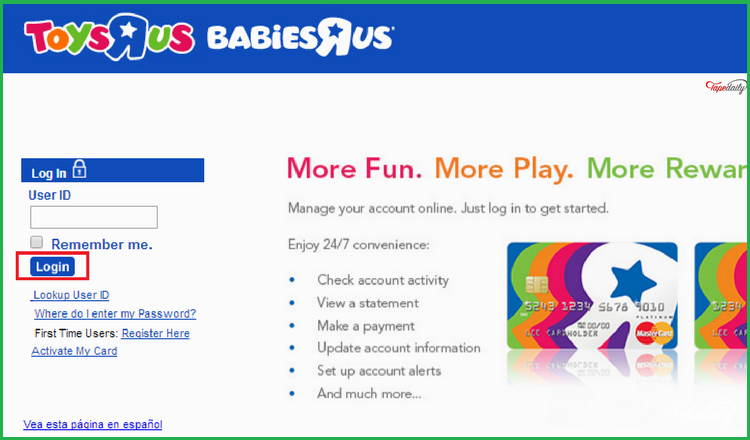Babies R Us Credit Card Payment
